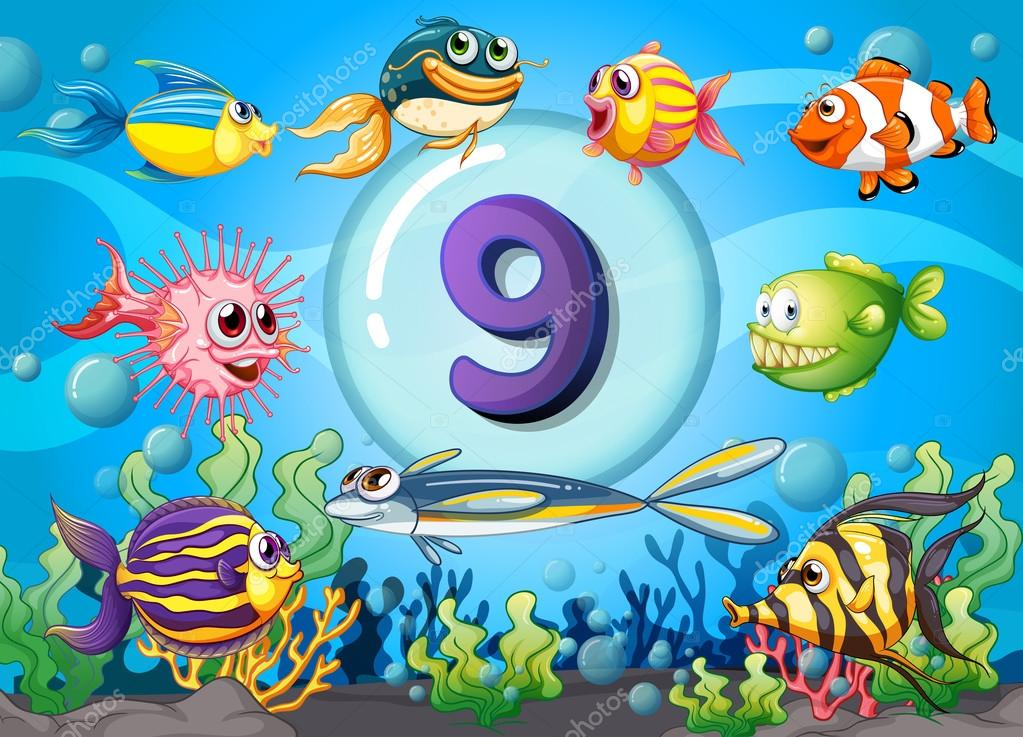 Flashcard Nummer neun mit neun Fische unter Wasser — Stockvektor ...