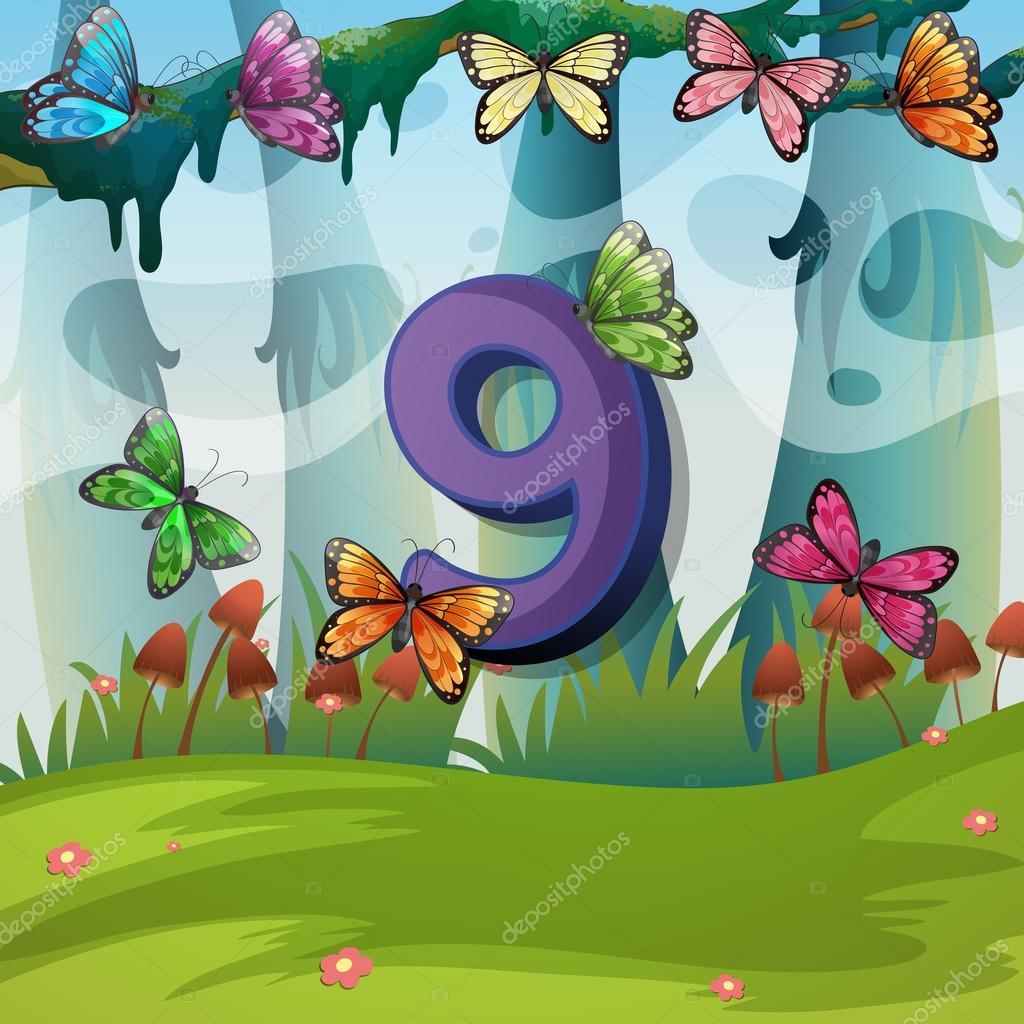 Nummer neun mit 9 Schmetterlingen im Garten — Stockvektor ...