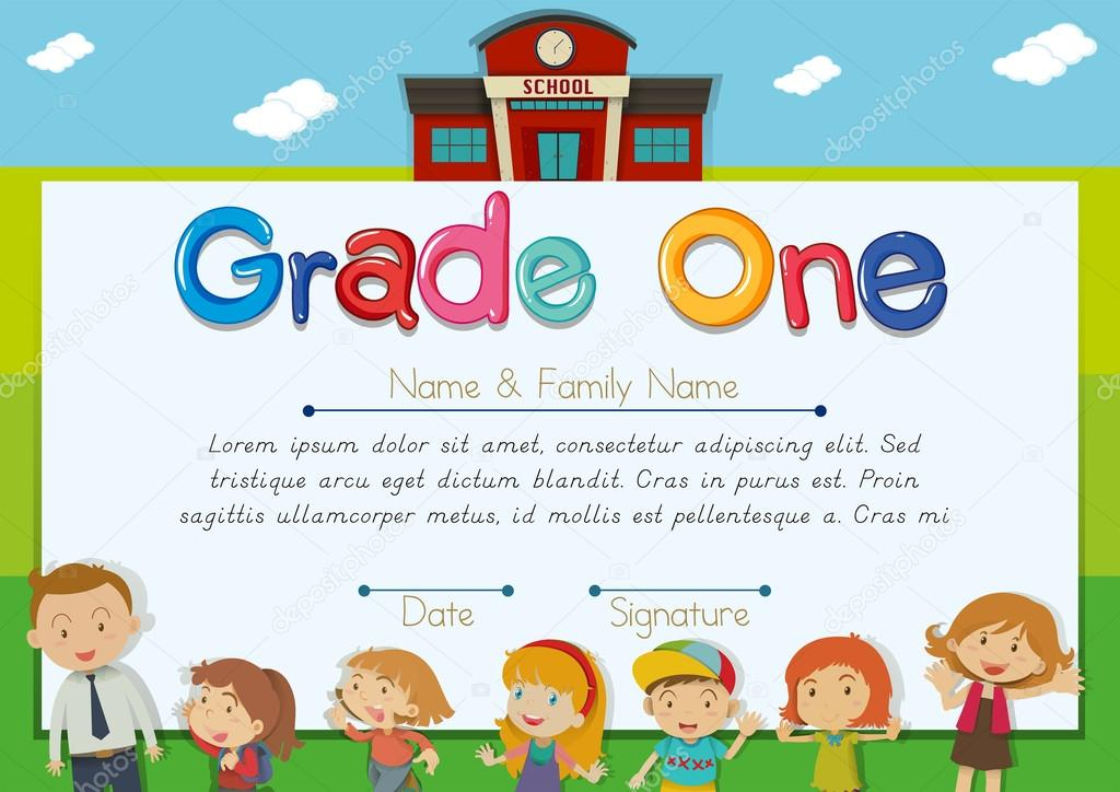 Diploma template with teacher and children in background — Stock ...