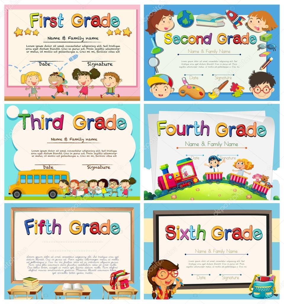Zertifikate für Kinder in der Grundschule — Stockvektor ...
