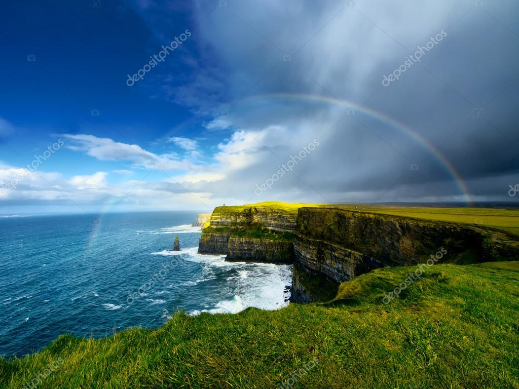 Rainbow above Cliffs of Moher.