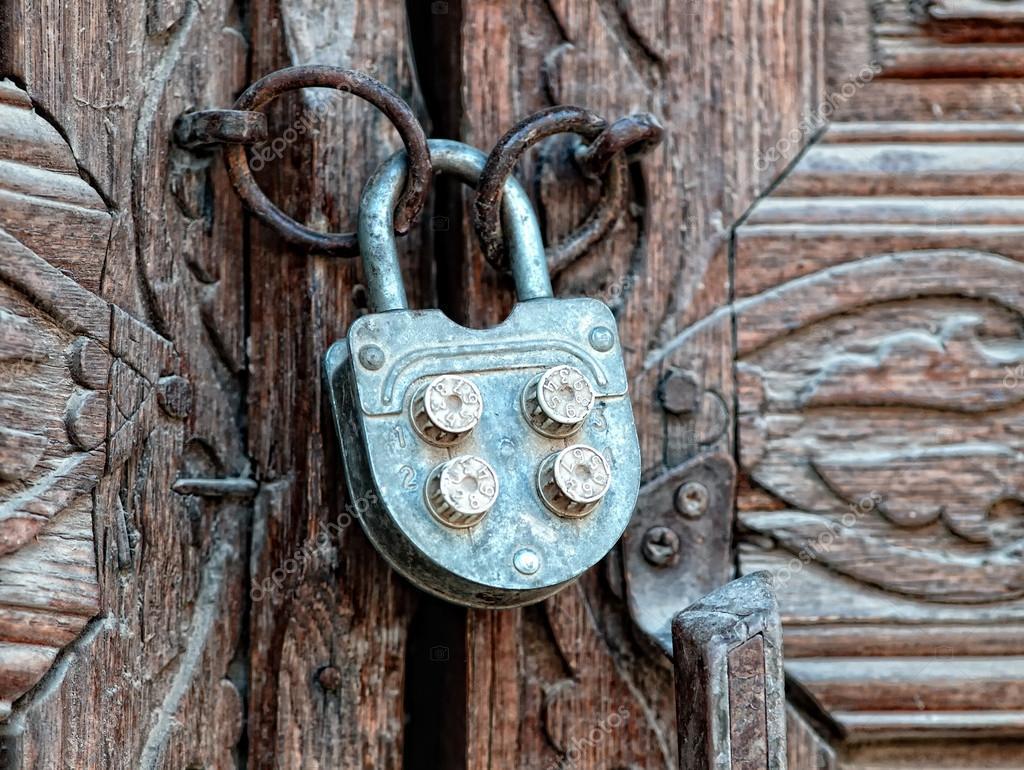 Door with old iron lock.