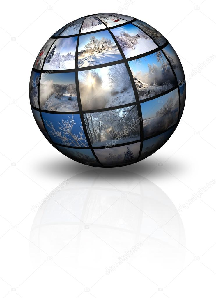Sphere with winter landscapes