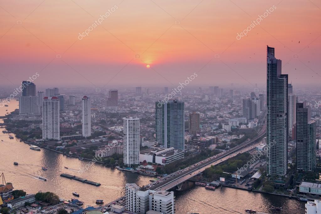 Panorama view over Bangkok skyline