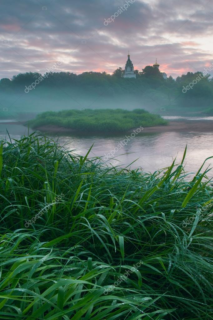 Early morning in russian village
