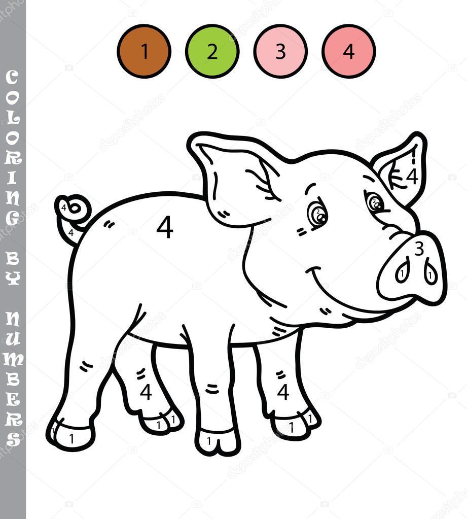 divertido para colorear por números juego — Vector de stock ...
