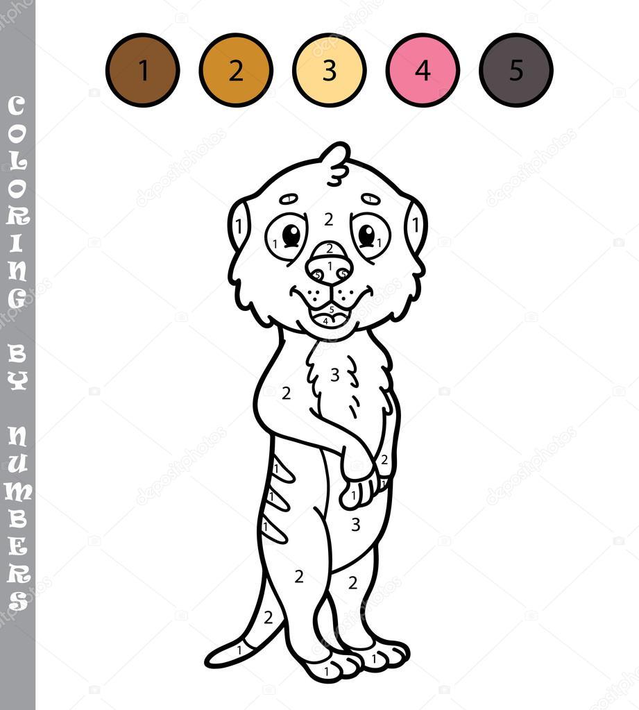 kleurplaat door getallen educatieve kinderen spel