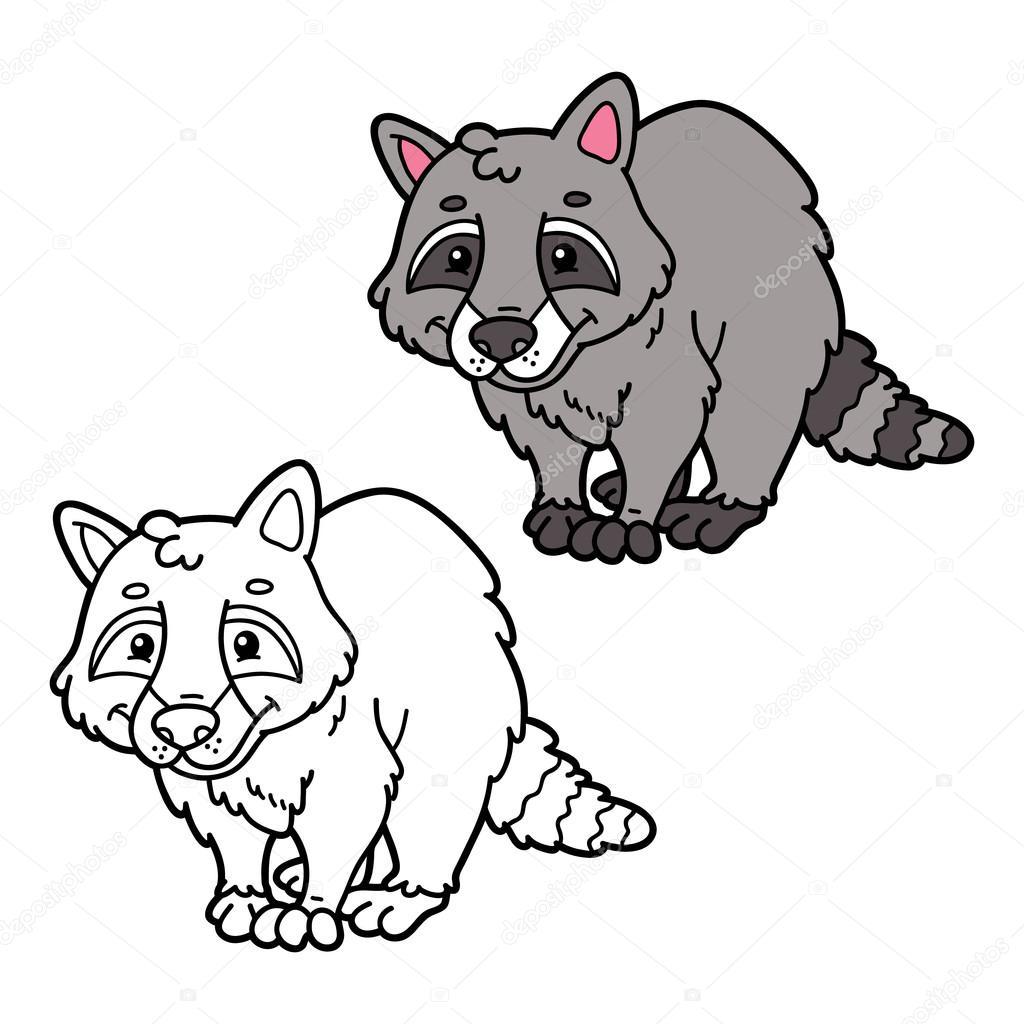 erzieherischen Kinder Raccoon Cartoon Färbung Seite — Stockvektor ...