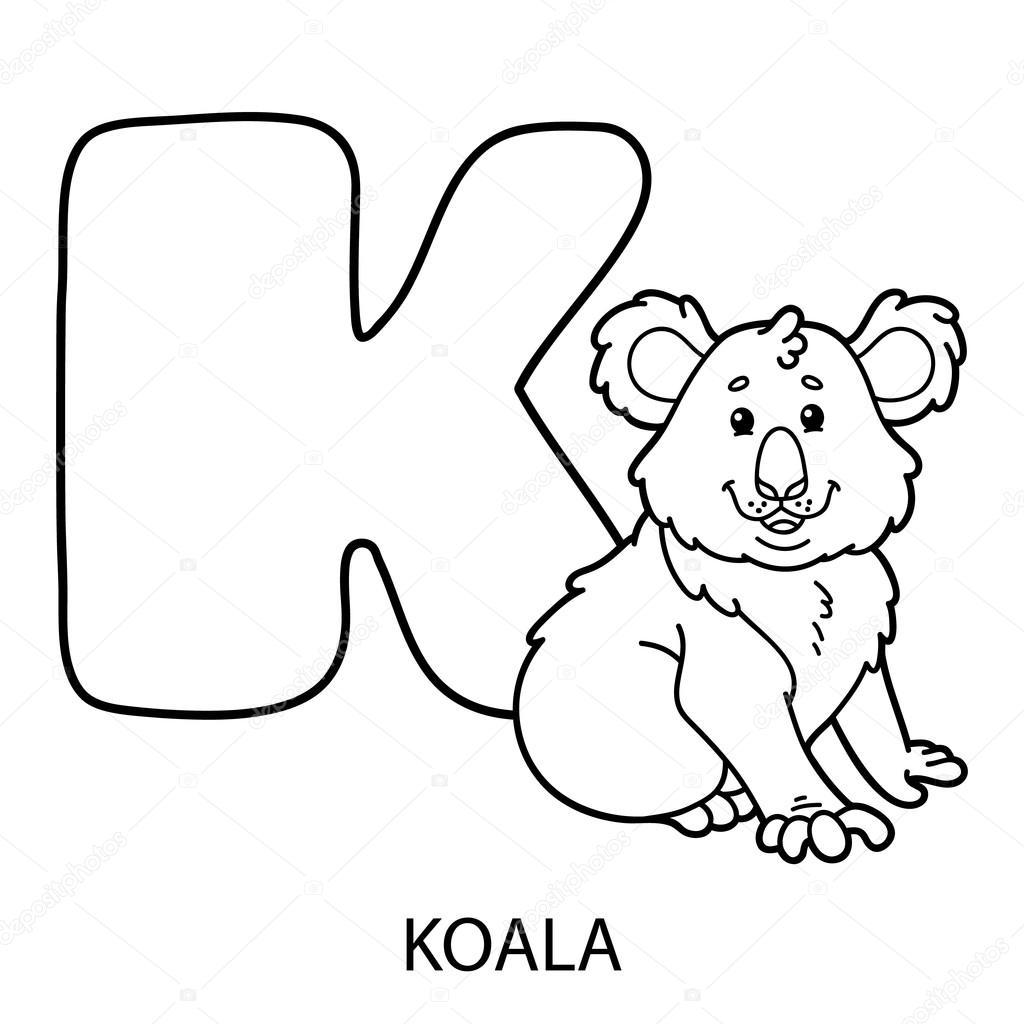 Página para colorear de alfabeto de animales — Archivo Imágenes ...