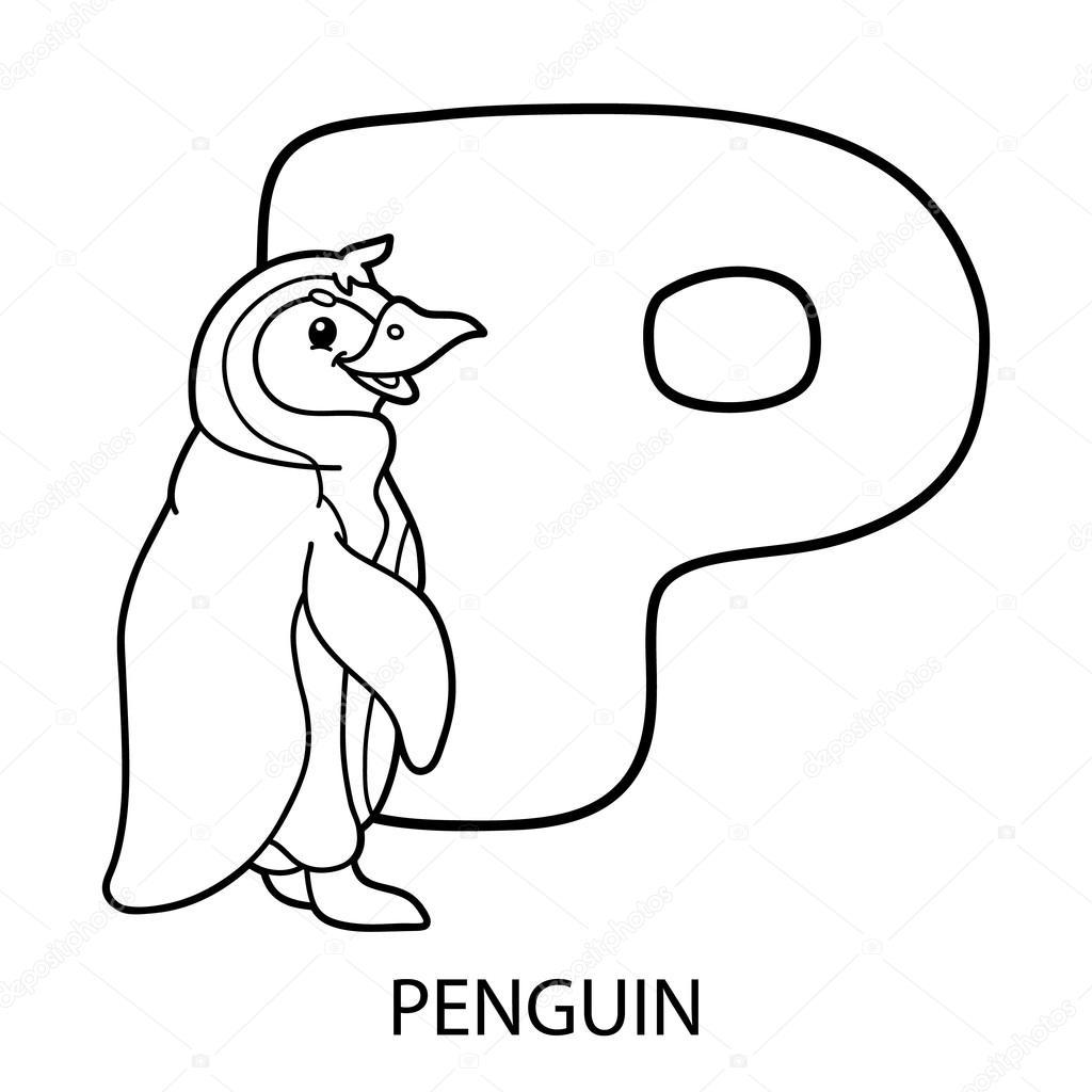 Página para colorear de alfabeto de animales — Vector de stock ...
