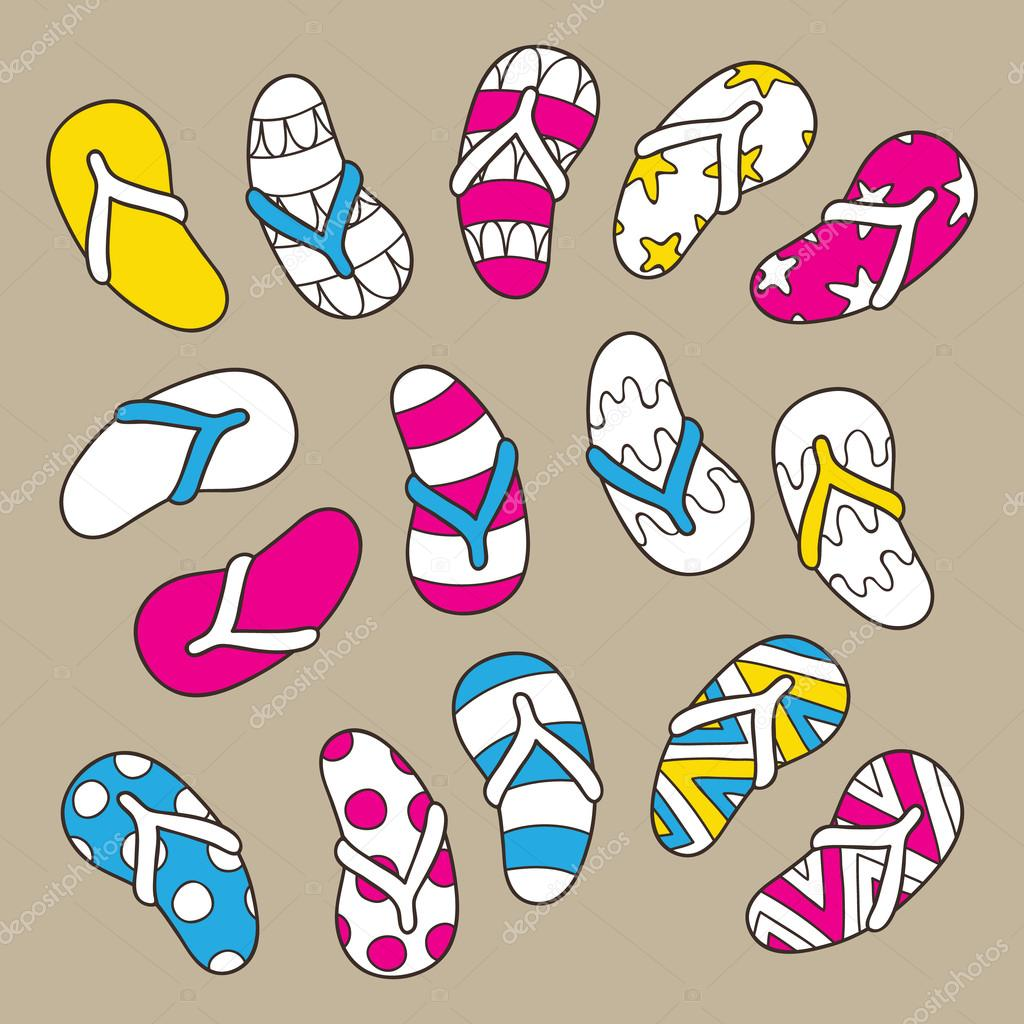 40a23d6f9 hand drawn flip flops. — Stock Vector © boyusya  113328430