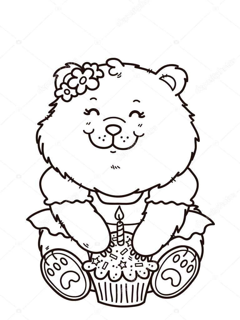 happy birthday girl bear stock vector 59961221