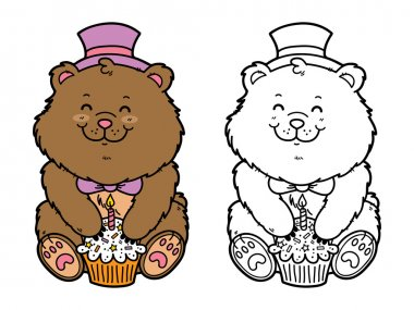 Vector illustration coloring page of happy cartoon bear with birthday cupcake for children and scrap book clip art vector