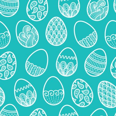Vector seamless doodle easter pattern with Easter eggs stock vector
