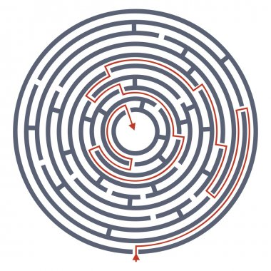 Maze labyrinth with answer.