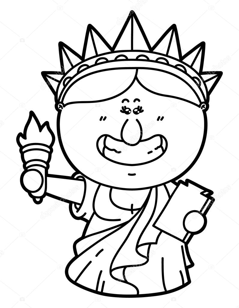 vector illustration coloring page of happy cartoon statue of liberty which is holding torch vector by boyusya