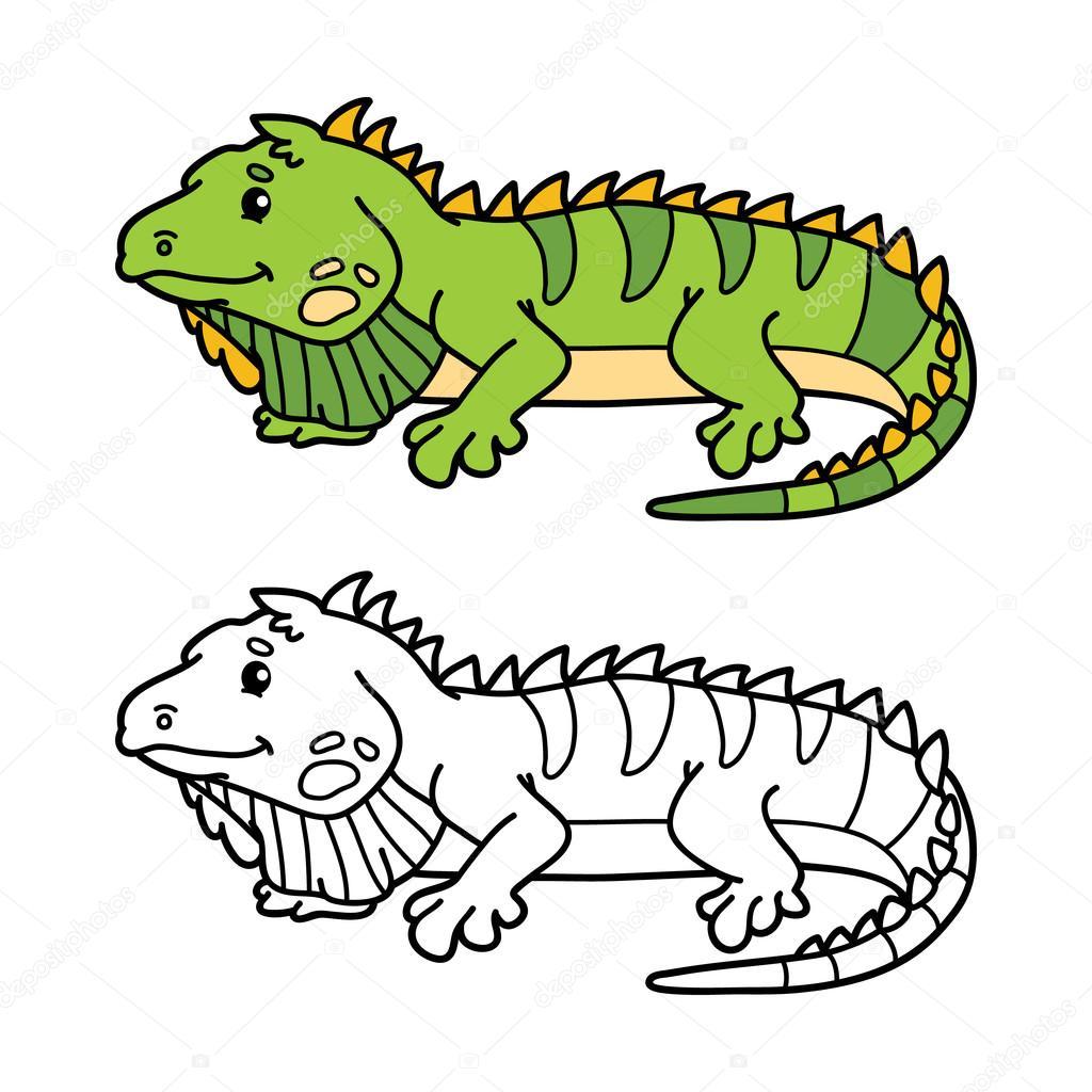 iguana de página para colorear — Vector de stock © boyusya #94875632