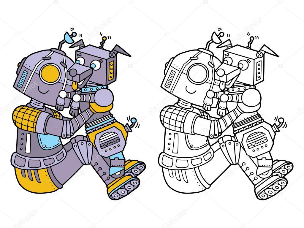 Komik Robotlar Sayfa Boyama Stok Vektör Boyusya 96327068