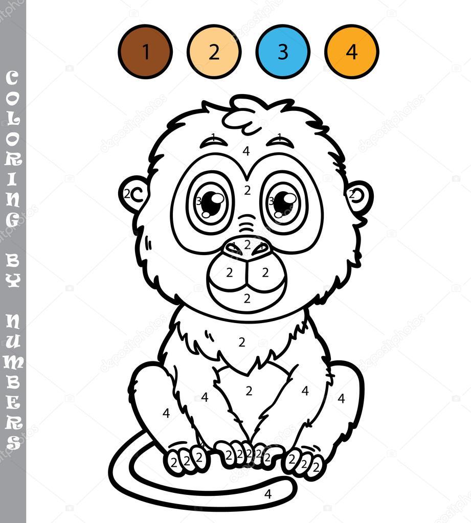 Komik Maymun Boyama Oyunu Stok Vektör Boyusya 97344404
