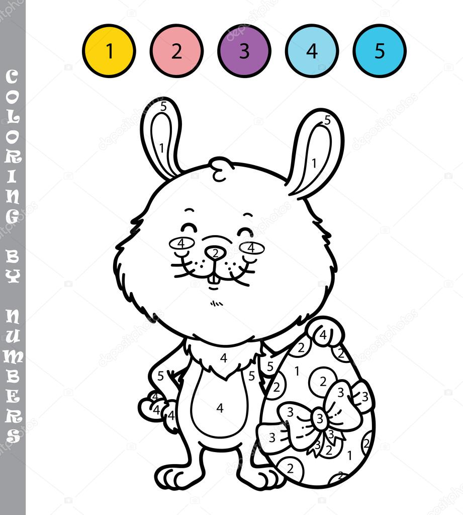 Komik Tavşan Boyama Oyunu Stok Vektör Boyusya 97344406