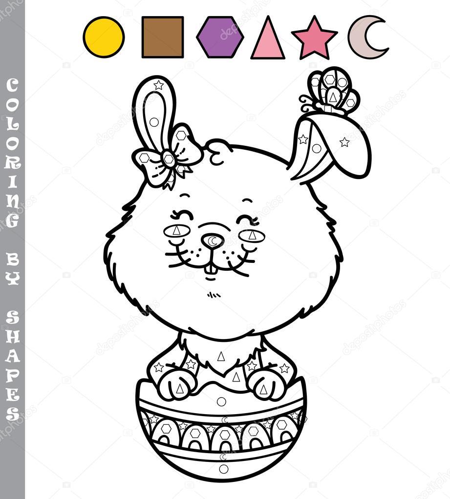Komik Tavşan Boyama Oyunu Stok Vektör Boyusya 97344412