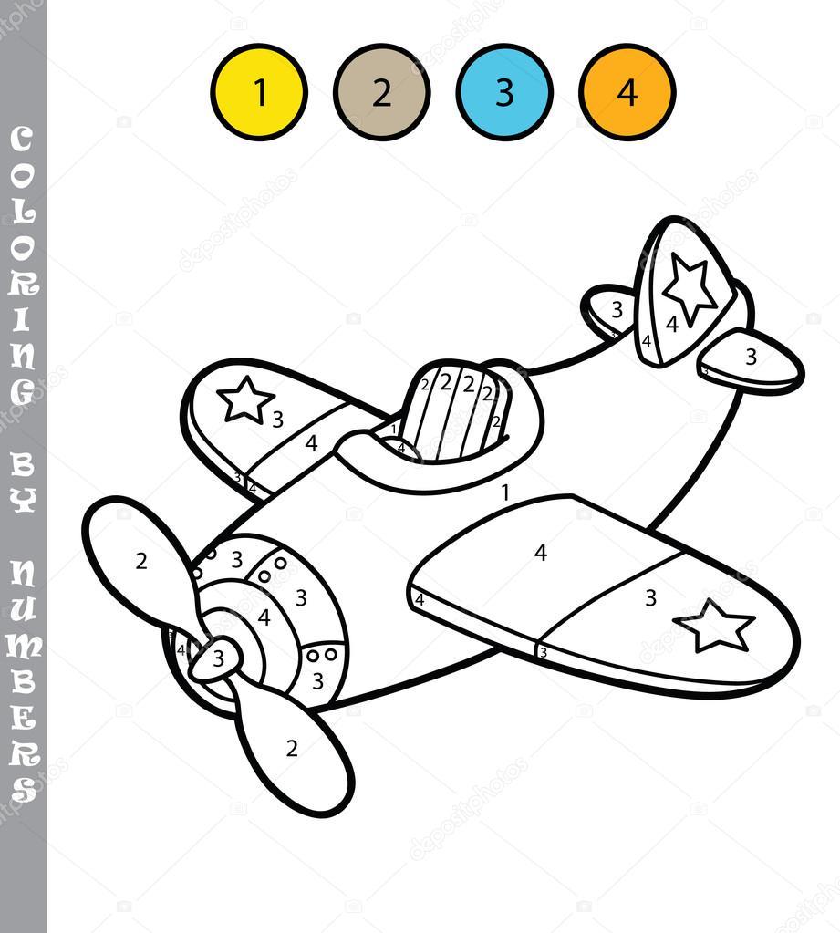 Komik Uçak Boyama Oyunu Stok Vektör Boyusya 98127402
