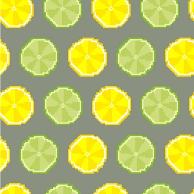Lime and lemon seamless pattern. Pixel. Vector icon