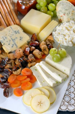 healthy cheese and fruits plate