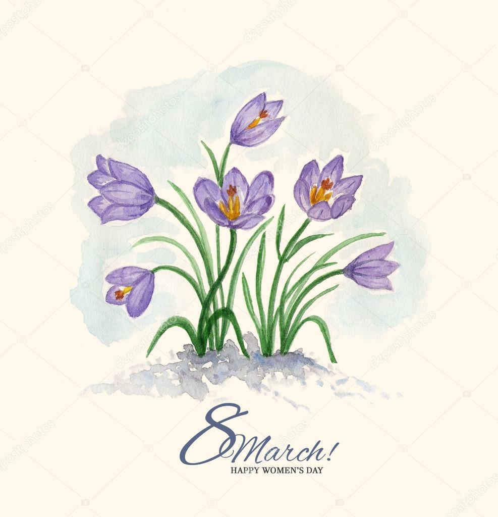 Магазины, акварельная открытка с 8 марта