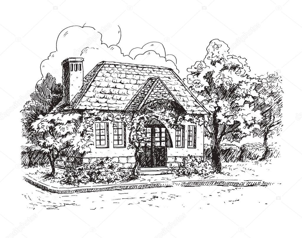 Rural Landscape With Old Farmhouse Stock Vector