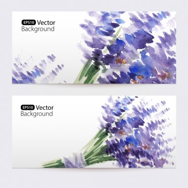 Two floral watercolor banners with bouquet of lavender