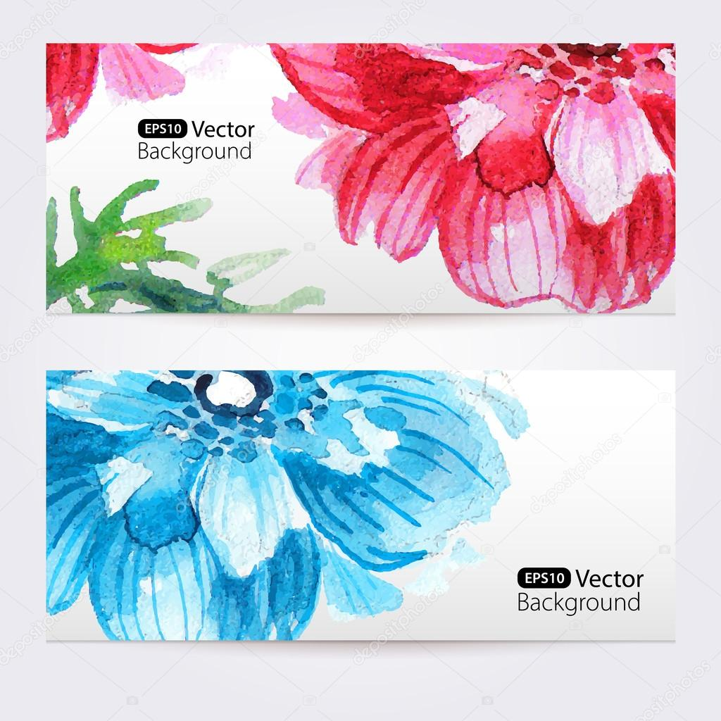 Two floral watercolor banners with anemones