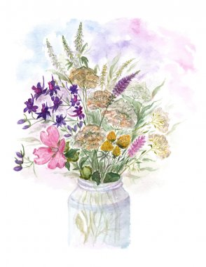 Bouquet of watercolor colorful wildflowers in glass vase