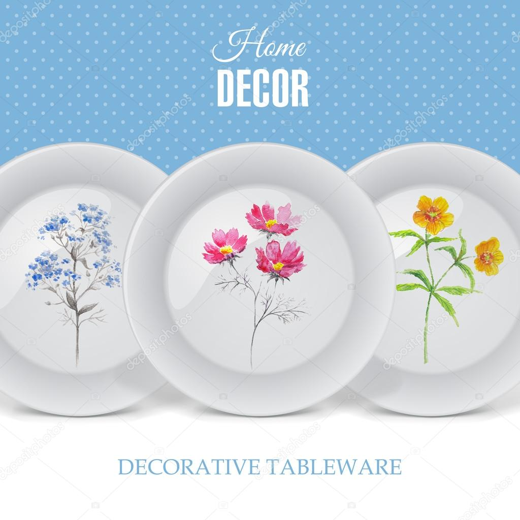 Advertising banner with decorative ceramic tableware