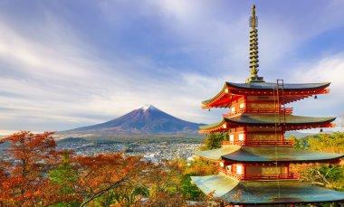 Mt. Fuji with Chureito Pagoda at sunrise, Fujiyoshida, Japan