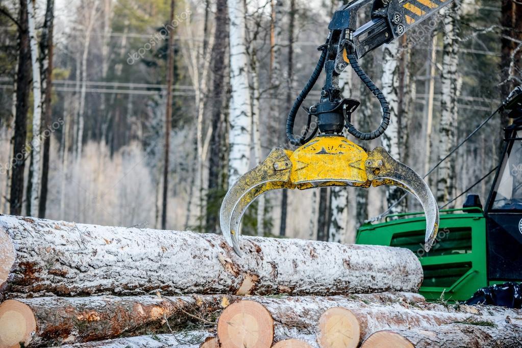 Captures a timber loader  , stack of log