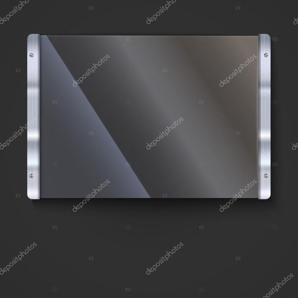 Placa de cristal con marco de metal — Archivo Imágenes Vectoriales ...