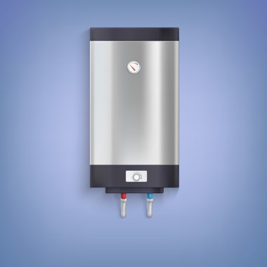 Water heater. Hot-water tank, chrome plated with a regulator and thermometer clip art vector
