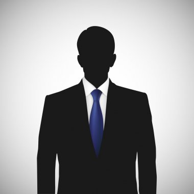 Unknown person silhouette whith blue tie