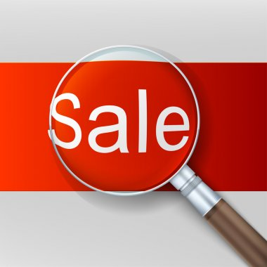 Sale. Magnifying glass over red background.