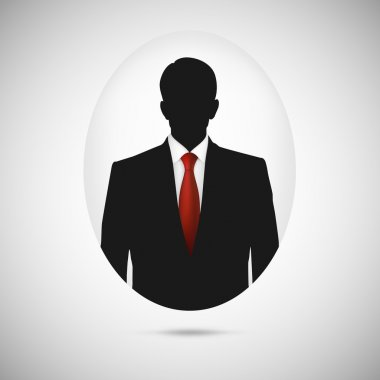 Male person silhouette. Profile picture whith red tie.