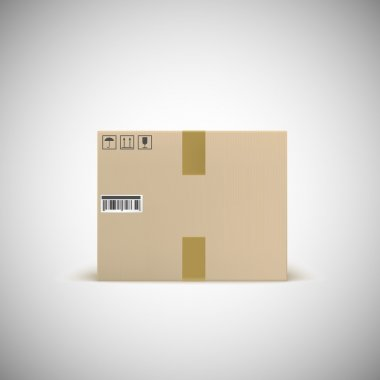 Sealed cardboard box with barcode tape and traffic signs. Front view.