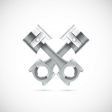 Two pistons white background.