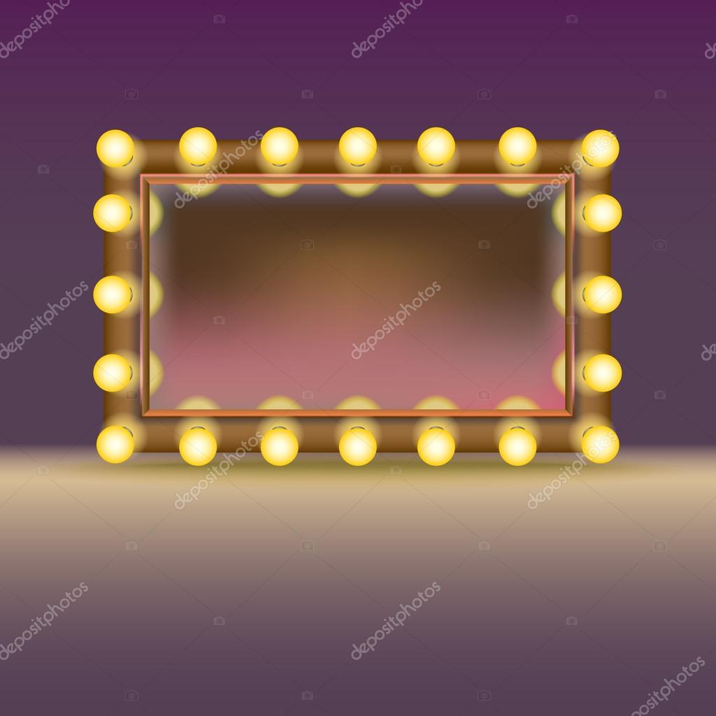 espejo con luces y reflexin aislado en fondo blanco u vector de mastererik