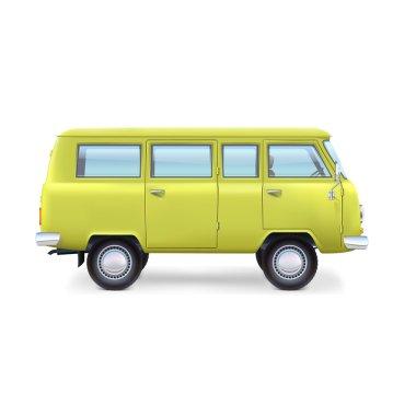 Retro travel van on white background