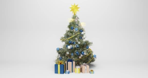 3D animace vánočního stromečku zdobeného modrými a bílými vánočními míčky, se zlatou hvězdou na vrcholu stromu, dárky na dně v různých obalových papírech. 2 zářící jiskry létají kolem stromu.