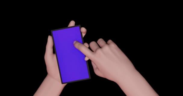 3D-Renderanimation stilisierte Hand auf dem Telefon, Smartphone scrollt, wischt, Nachrichten, News-Feed. Blauer, weißer, schwarzer, grüner Hintergrund.