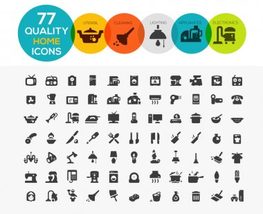 Home Icons including: home appliances, cleaning, kitchen utensil