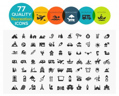 77 High Quality Recreation Icons including: travel, beach, sports, hotel and camping stock vector