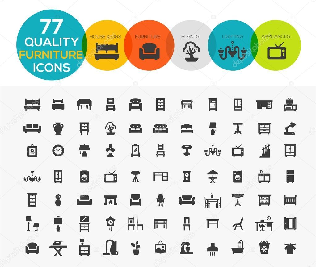 Hohe Qualität Möbel Symbole einschließlich: Betten, Büros, Accessori ...
